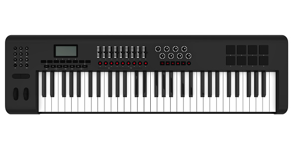 Electronic Synthesizer Piano Keyboard isolated on white background. 3D render