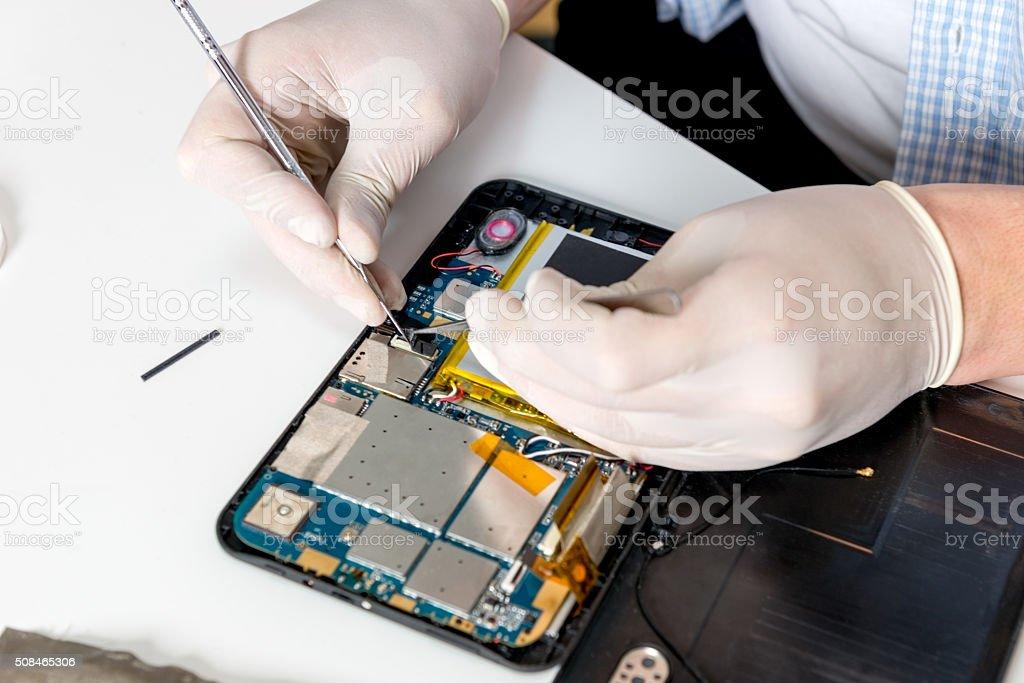 Electronic technician stock photo