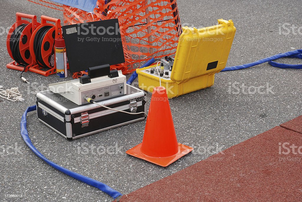 Electronic timing equipment at a triathlon race royalty-free stock photo