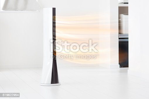istock Electronic tower fan blowing warm air 519622954