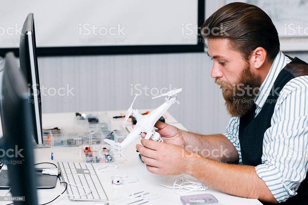 Electronic toy repair shop, drone disassembling foto stock royalty-free
