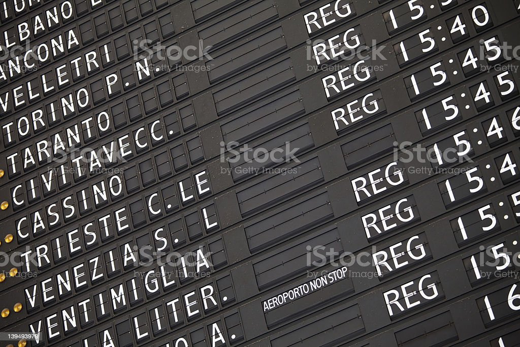 Electronic train timetable close-up on railway station in Italy royalty-free stock photo