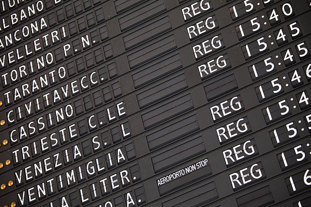 Electronic train timetable close-up on railway station in Italy stock photo