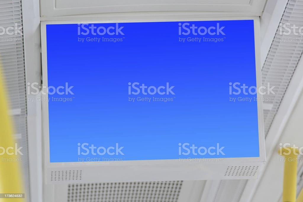 Electronic TV set in the tram stock photo