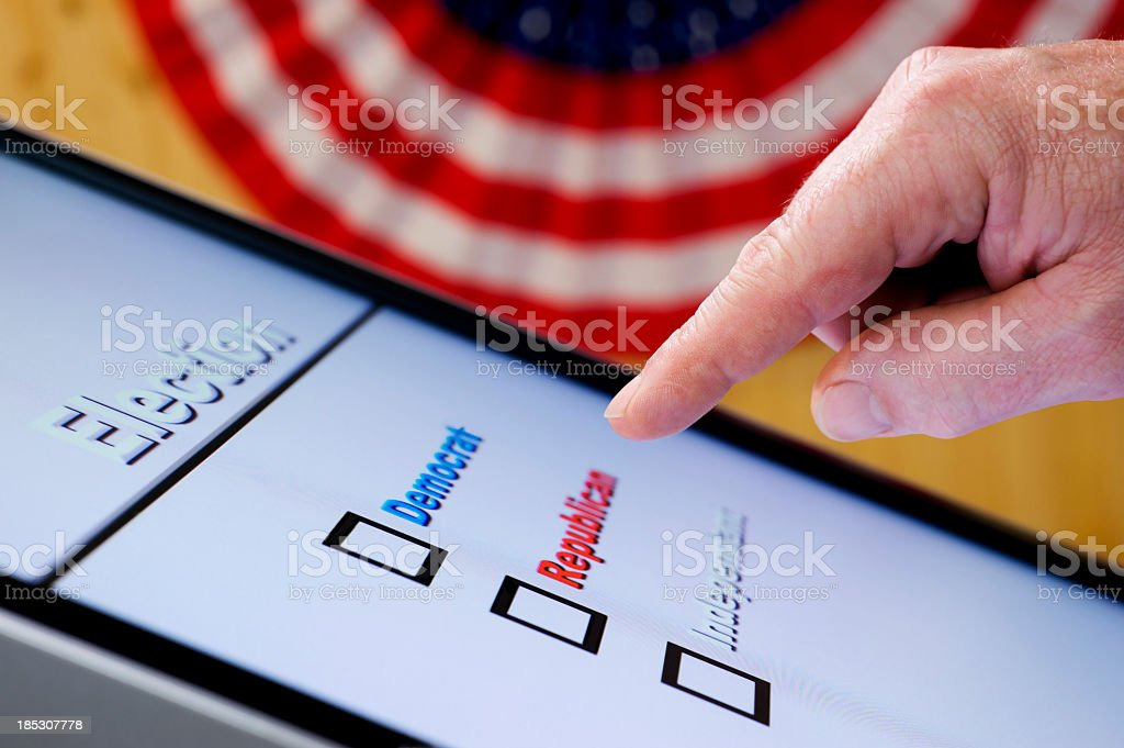 Electronic Voting - Hand over ballot stock photo