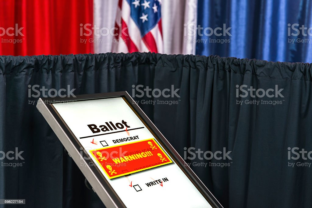 Electronic voting machine hacked A hacked electronic voting machine, showing a red warning window with skull and cross bones icon at a polling station decorated in red, white and blue with an American flag in the background. American Flag Stock Photo