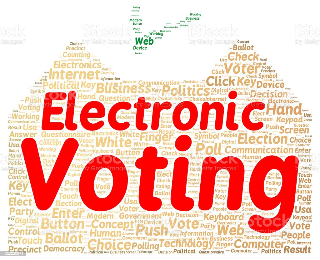 Electronic voting word cloud shape stock photo