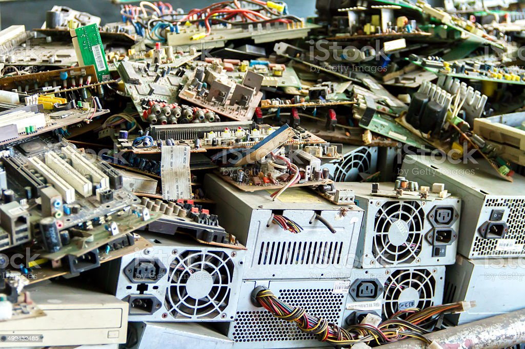 Electronic waste ready for recycling stock photo