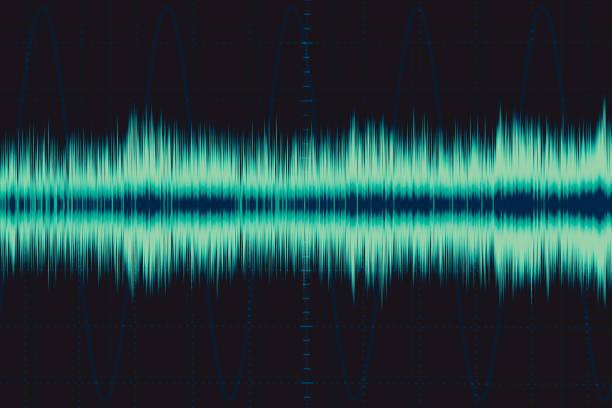 electro wave. schallfrequenz welle. oszilloskop digital wellenform signal auf greenscreen illustration. - frequenzen stock-fotos und bilder