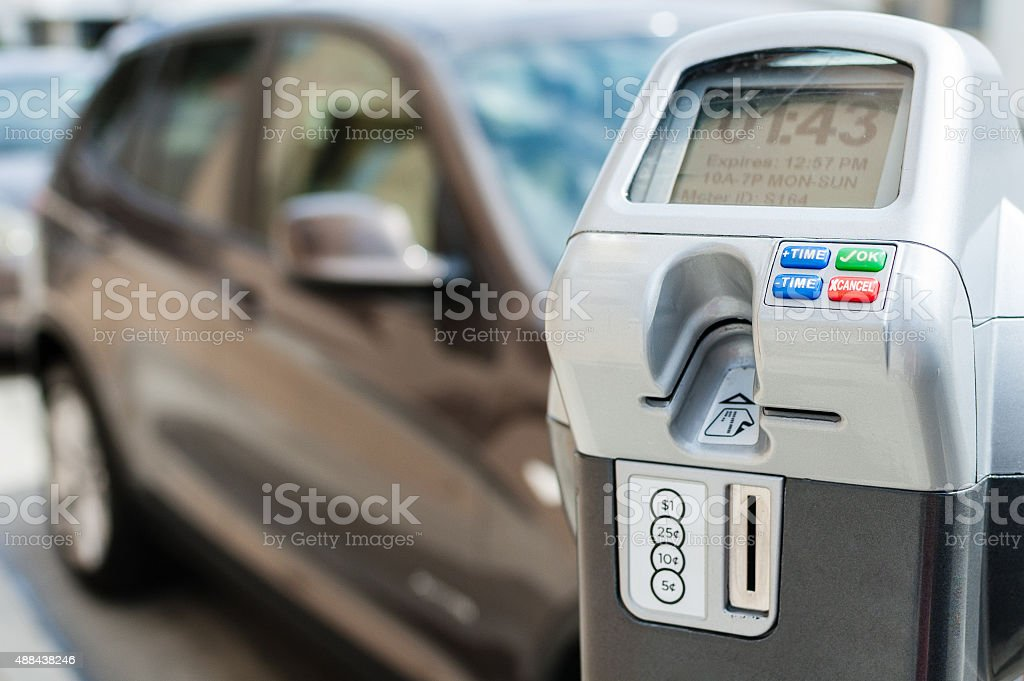 Electronic/digital parking meter with time left stock photo