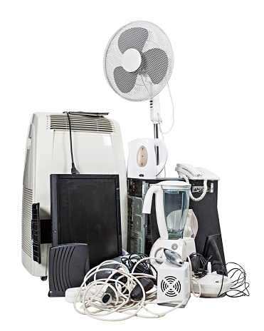 Electronics and appliances recycling over white