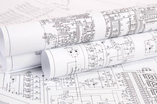 electrónica e ingeniería. dibujos impresos de circuitos eléctricos. ciencia, tecnología y electrónica. - ingeniería fotografías e imágenes de stock