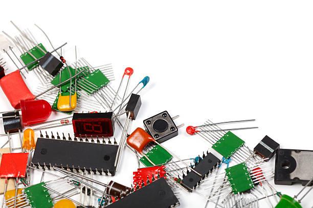 Electronics components background stock photo