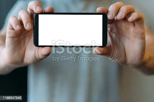 1161068403 istock photo electronics gadgets white mockup smartphone screen 1168347345