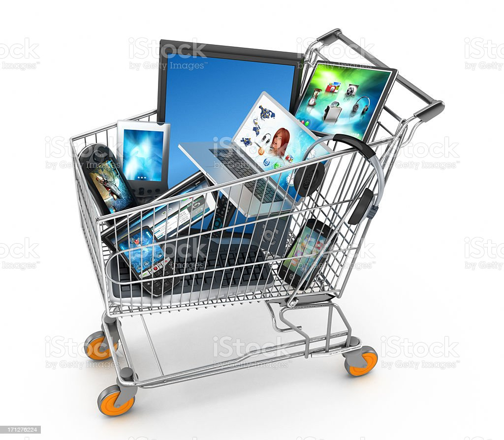 Electronics shopping stock photo