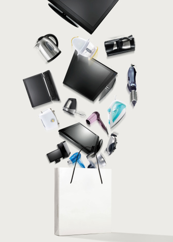 Electronic items with shopping bag.