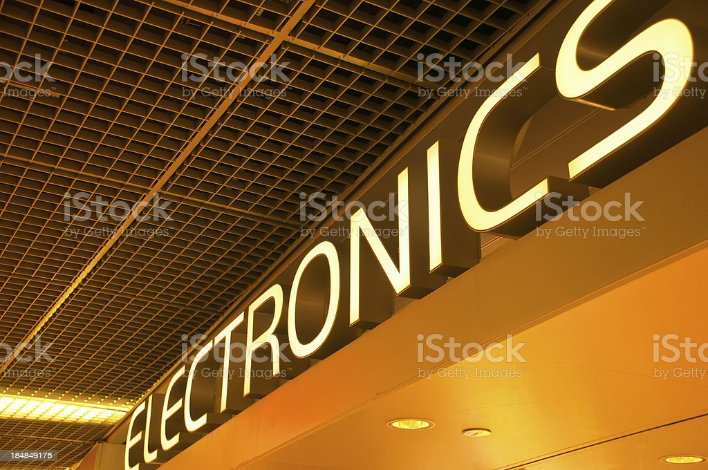 Electronics Sign stock photo