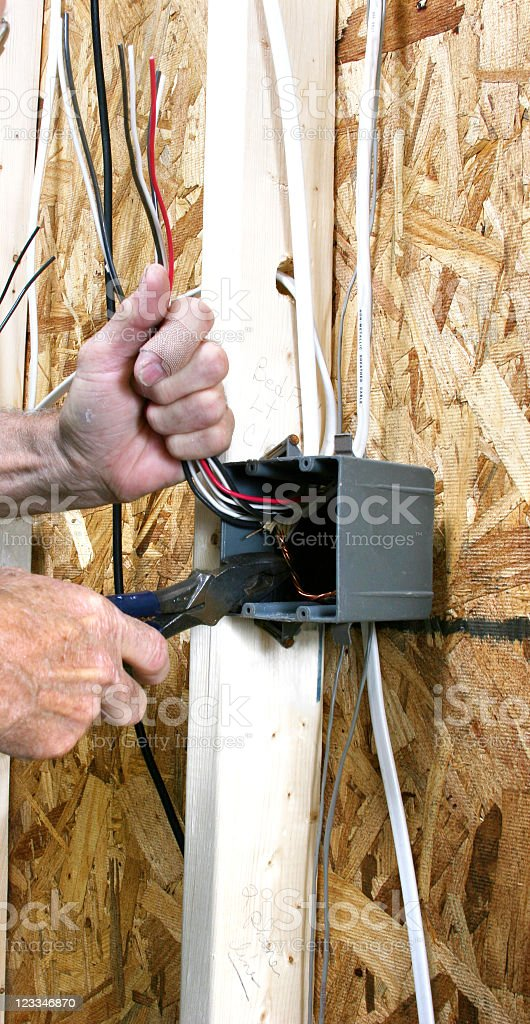 Electrtician wiring home. Installs electrical outlets, switches. New construction. royalty-free stock photo