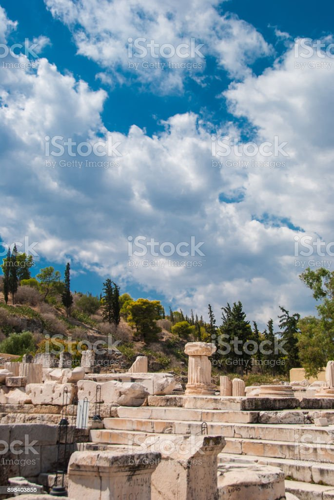 Elefsina, the location of an ancient sanctuary where the Eleusinian mysteries (Elefsinian Mysteries) took place every year around the end of September. stock photo