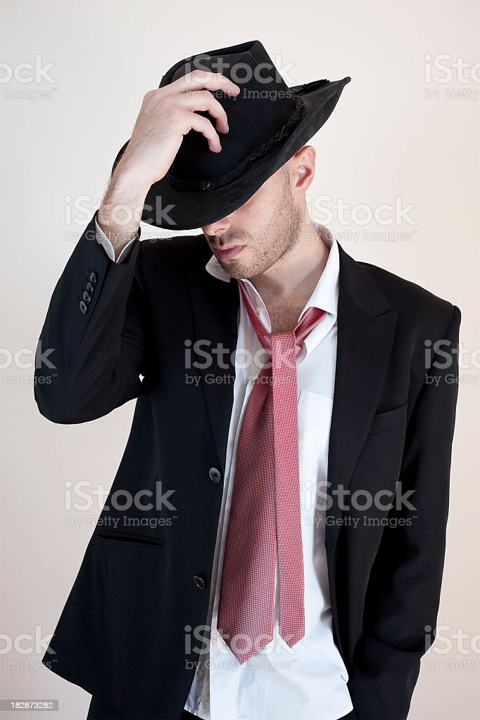 Elegance Boy With Hat On The Face stock photo