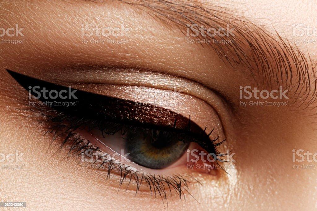Elegance close-up of beautiful female eye with fashion eyeshadow stock photo
