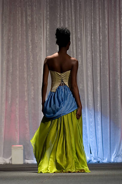 elegance from behind - prom fashion stock photos and pictures