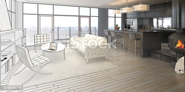 istock Elegance of a Loft (drawing) 1049791710