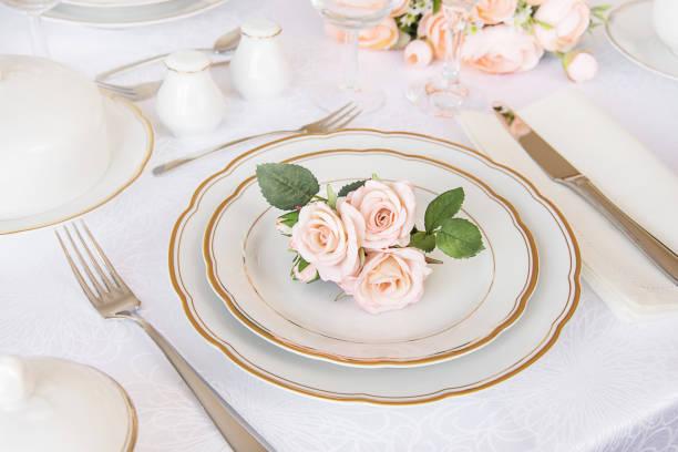 Elegance table setting stock photo