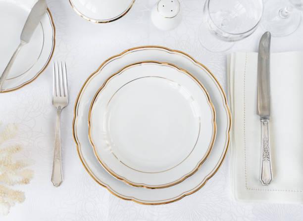 elegância configuração de mesa - fine dining - fotografias e filmes do acervo