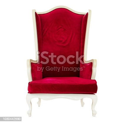 Elegance wood chair decoration with red velvet fabric isolated on white background