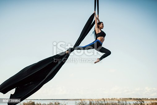 istock Elegance young beautiful woman dance with aerial silk on a sky background. Fly yoga sport 856739984