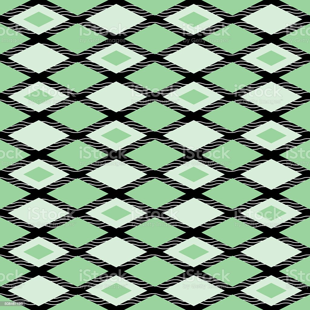 Elegant abstract seamless pattern of rhombuses and wavy lines stock photo