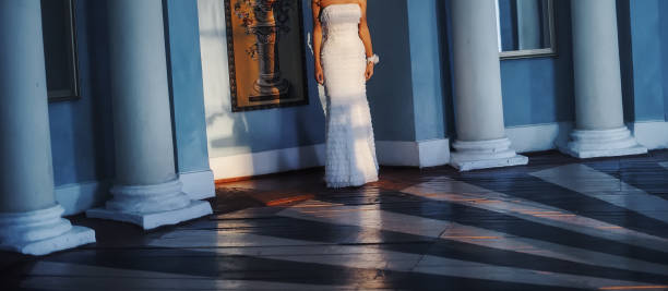 Elegant and classy wedding dress for the bride stock photo