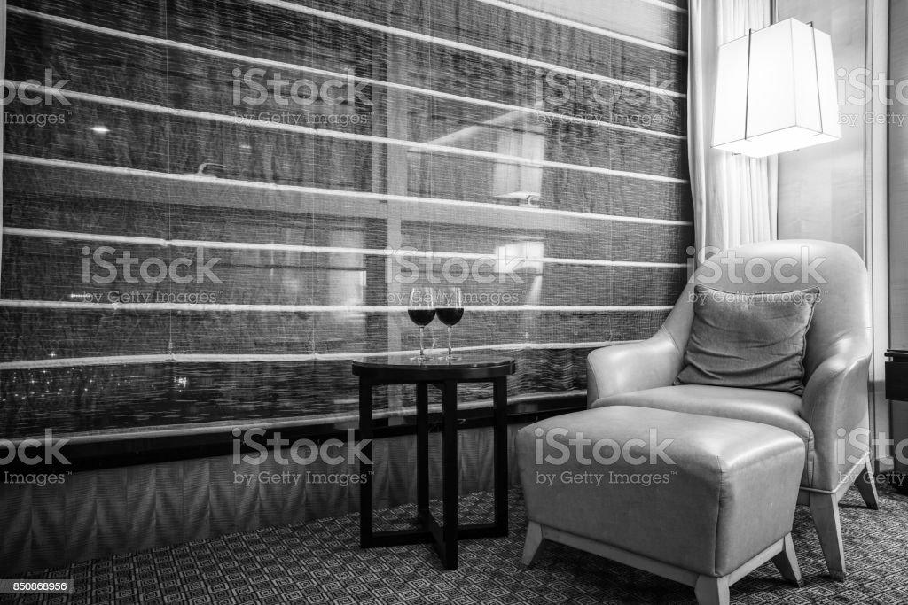 Elegant and comfortable bedroom interior stock photo