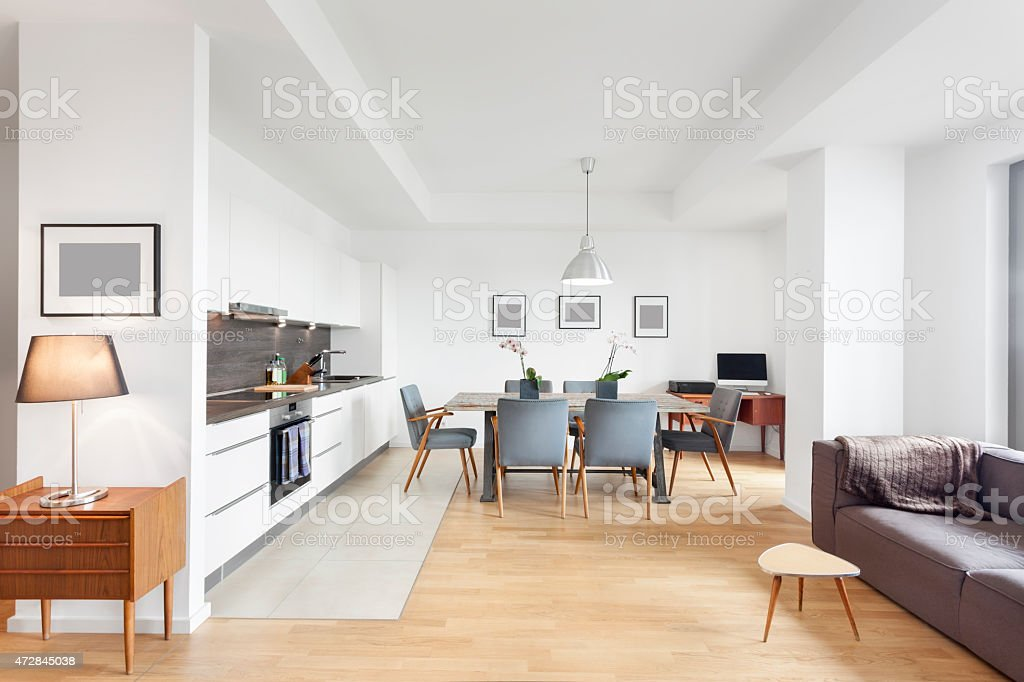 Elegant and Modern Loft Apartment with Open Floor Kitchen stock photo