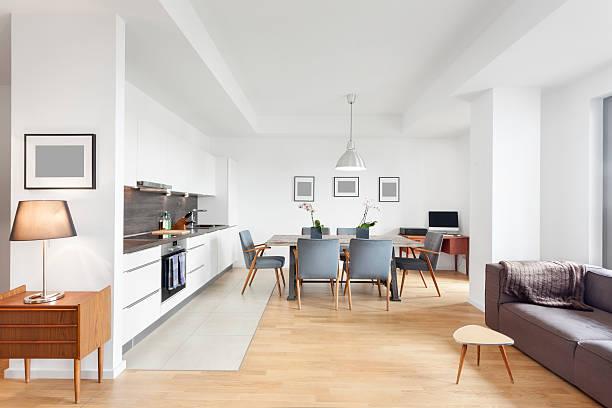 Elegant and Modern Loft Apartment with Open Floor Kitchen stock photo