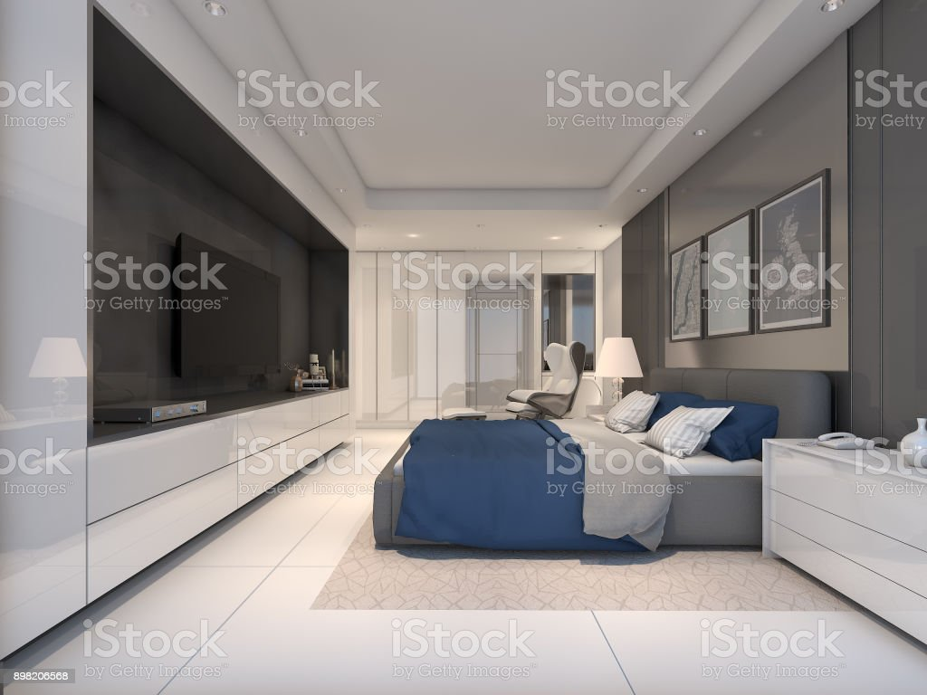 Elegant And Modern Master Bedroom Design 3d Rendering Stock ...