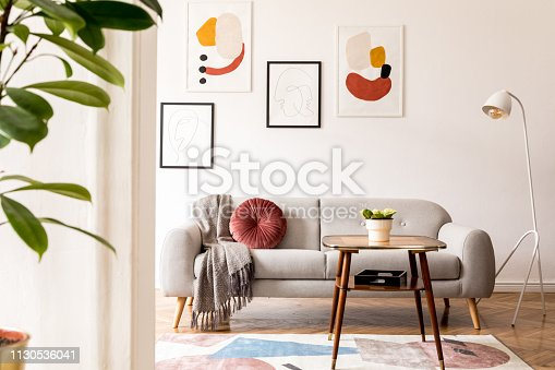 Minimalistic retro style home interior. Scandinavian living room.