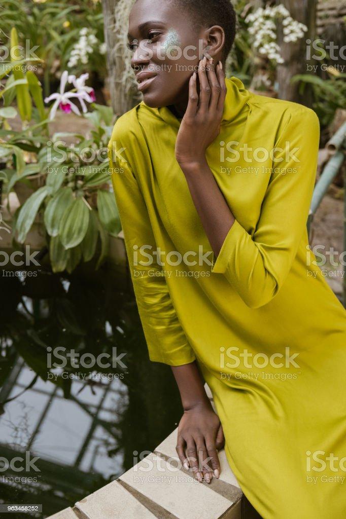 glitter makyaj havuzu poz ile zarif çekici Afro-Amerikan Kız - Royalty-free Afrika Kökenli Amerikalılar Stok görsel