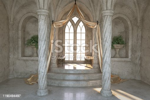Elegant balcony with gold curtains and arched window, 3d render.