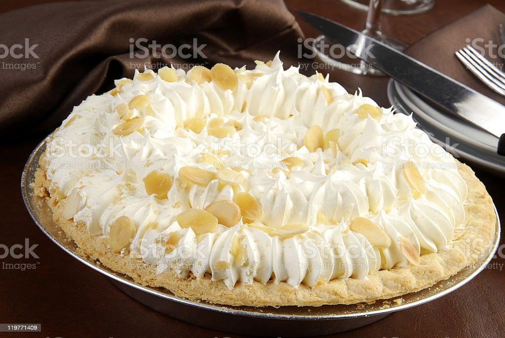 Elegant banana cream pie stock photo