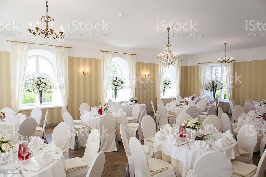 Elegant banquet dining room stock photo