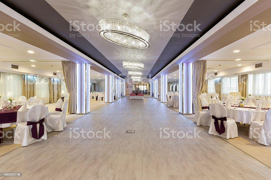 Elegant banquet hall interior stock photo
