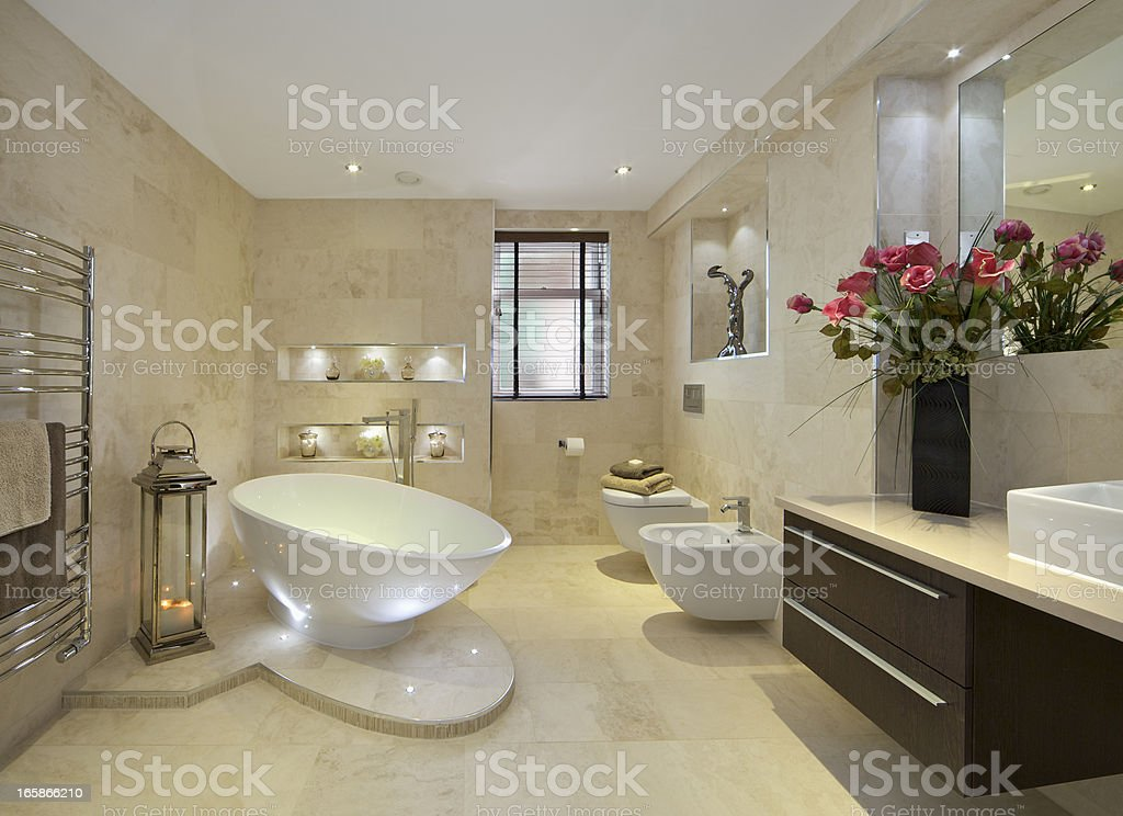 elegant bathroom with flowers stock photo
