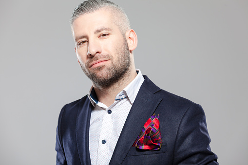Elegant Bearded Grey Hair Businessman In Fashioable Outfit Stock Photo - Download Image Now