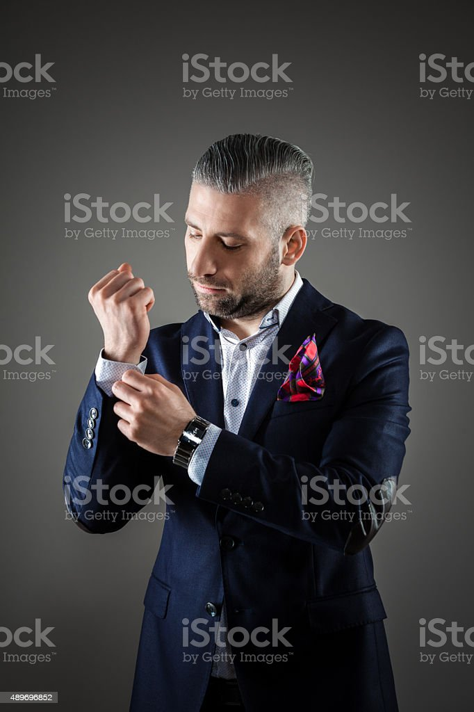 Elegant bearded grey hair man in fashionable attire Portrait of elegant bearded grey hair businessman in old-fashioned outfit. Standing against dark grey background. Studio shot, one person.  2015 Stock Photo