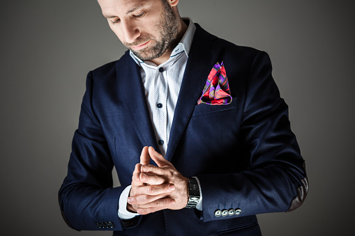 Elegant Bearded Man Wearing Jacket Stock Photo - Download Image Now