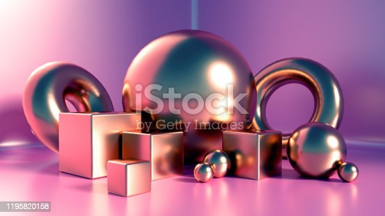 1128982640 istock photo Elegant, beautiful abstract background with elements, studio, pedestal, minimalism. 3d illustration, 3d   rendering. 1195820158