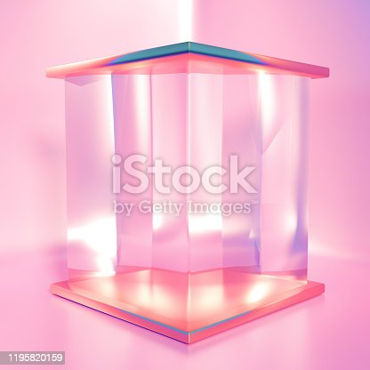 1128982640 istock photo Elegant, beautiful abstract background with elements, studio, pedestal, minimalism. 3d illustration, 3d   rendering. 1195820159