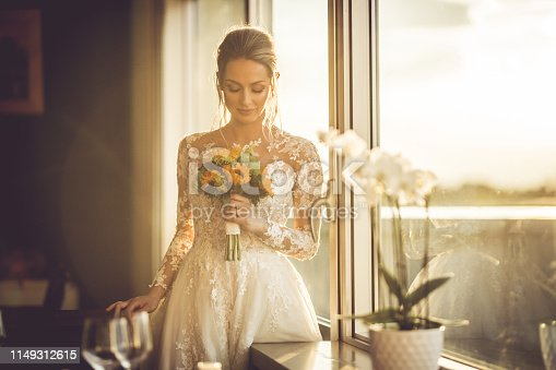 Elegant beautiful wedding bride posing near great window